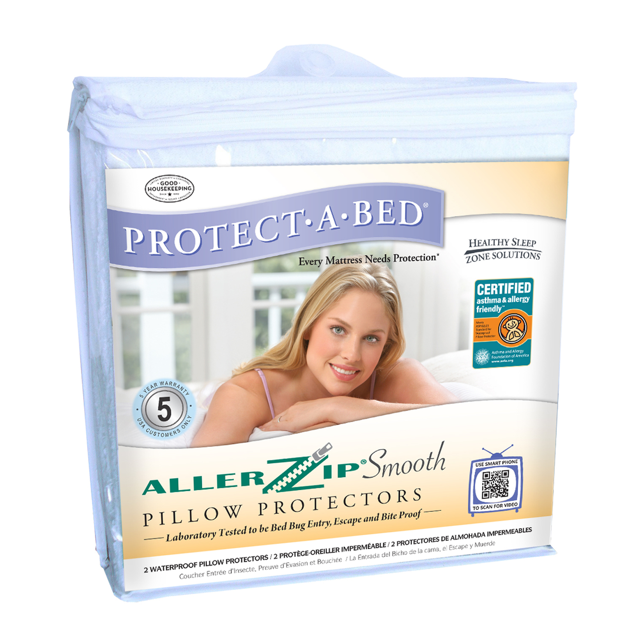 Protect A Bed Allerzip Smooth Pillow Protector Pair